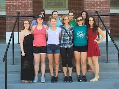 Katie Masso-Glidden, front row in white shirt, and fellow students on an alternative break trip to Selma, Alabama.
