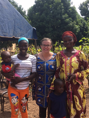 Lucia Martin '17 with some of her host family in Burkina Faso