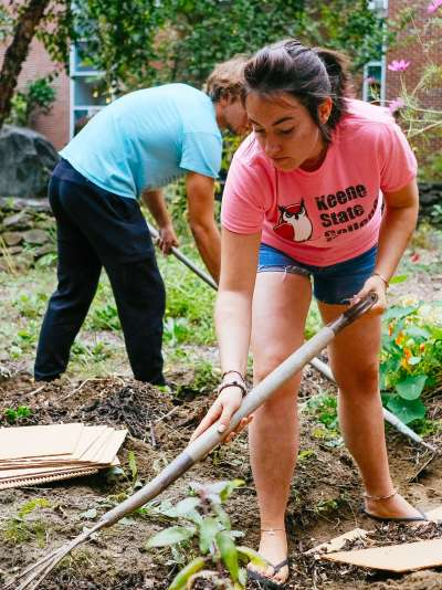 Students transform the courtyard in the Science Center into a permaculture garden.
