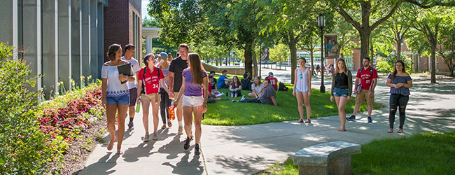 Students on Appian Way outside of Mason Library