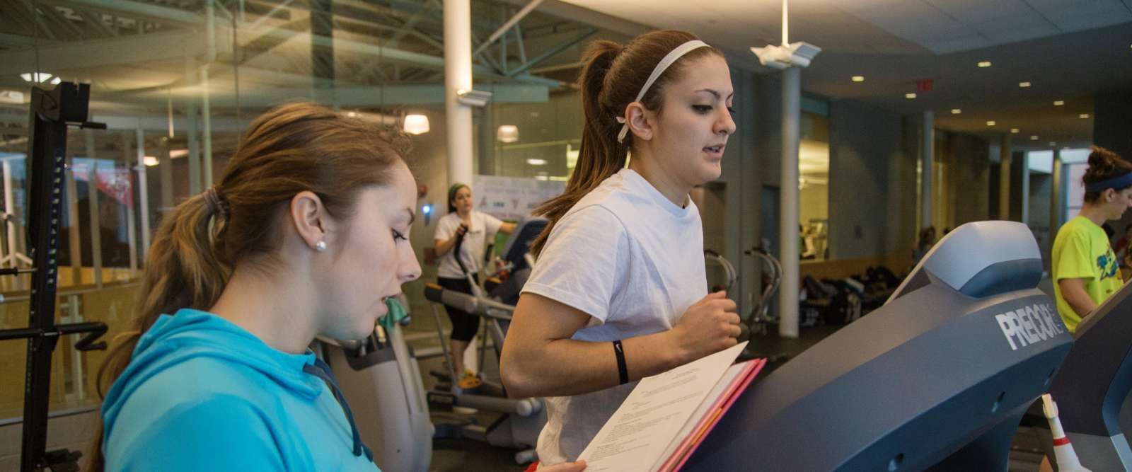 Students in fitness center