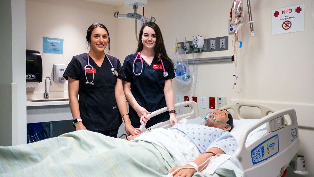 Nursing Students Makayla Philibert '18 and Dominique Vaillancourt '18