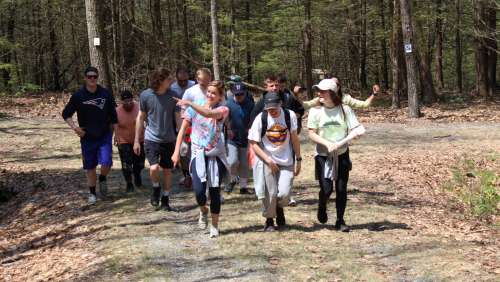 Physical education students on an orienteering exercise