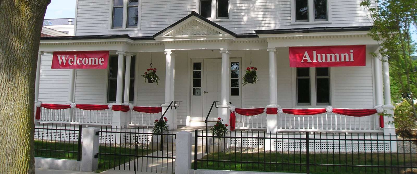 Alumni house, with welcome banner