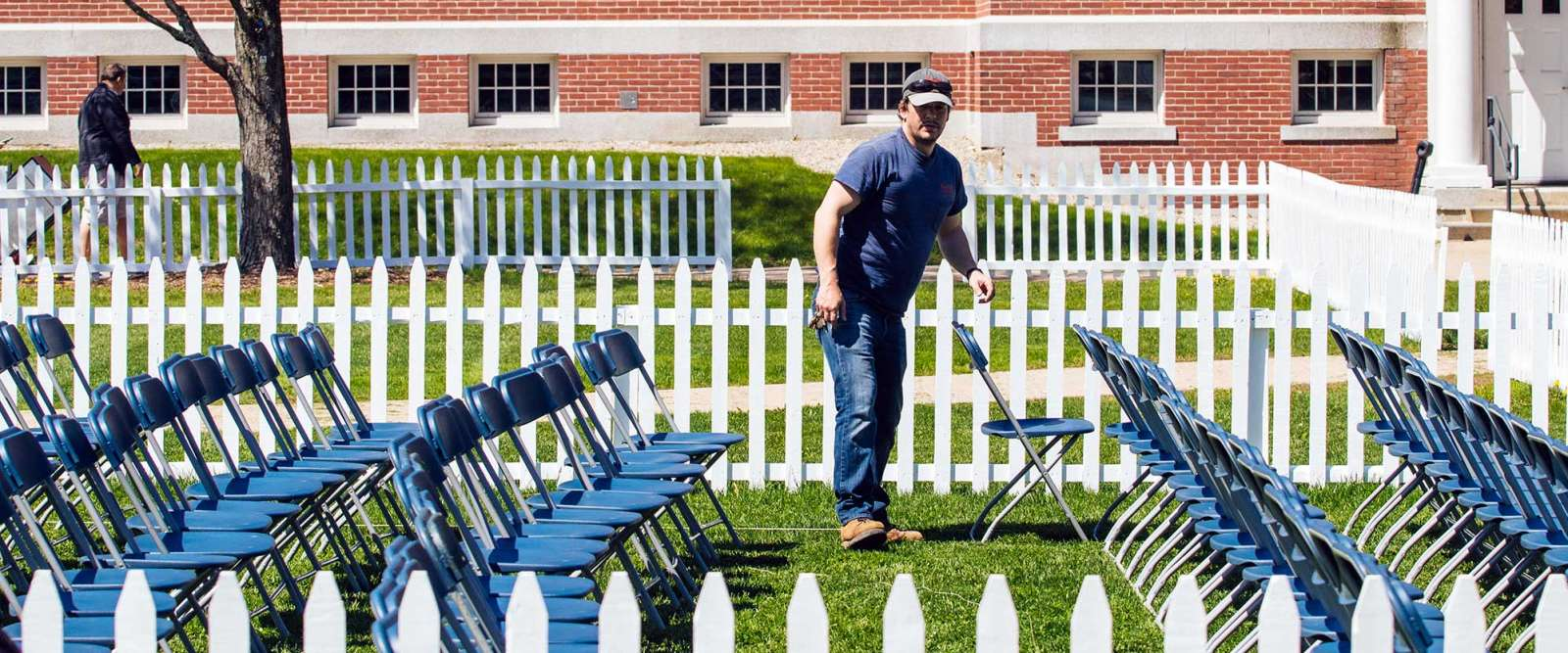Grounds Crew Setting Up for Commencement