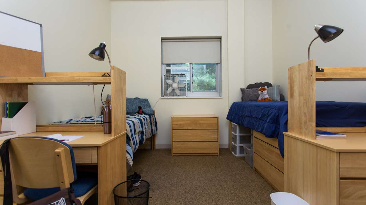 One Butler Court dorm room, facing window.