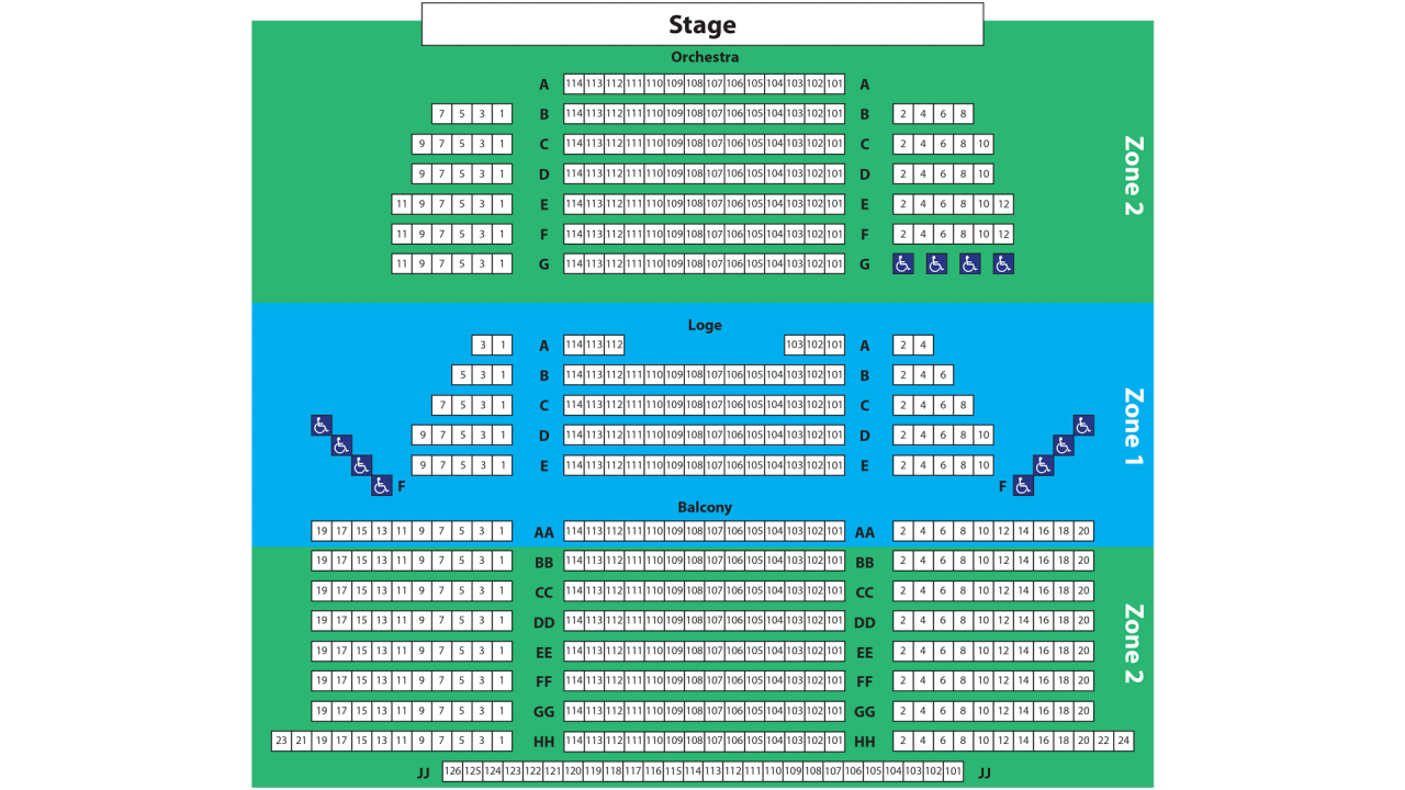 Seating chart, Main Theatre