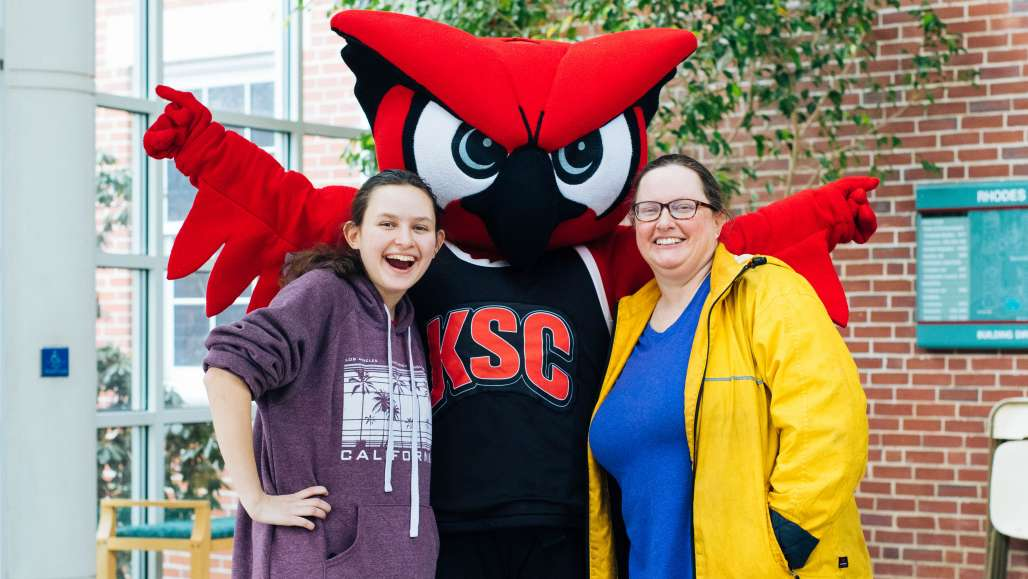 Student and parent with Hootie