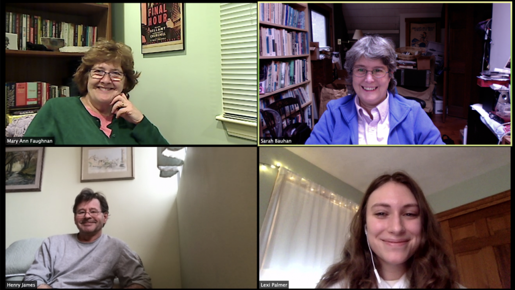 Lexi Palmer in a Zoom conference with the Bauhan Publishing crew