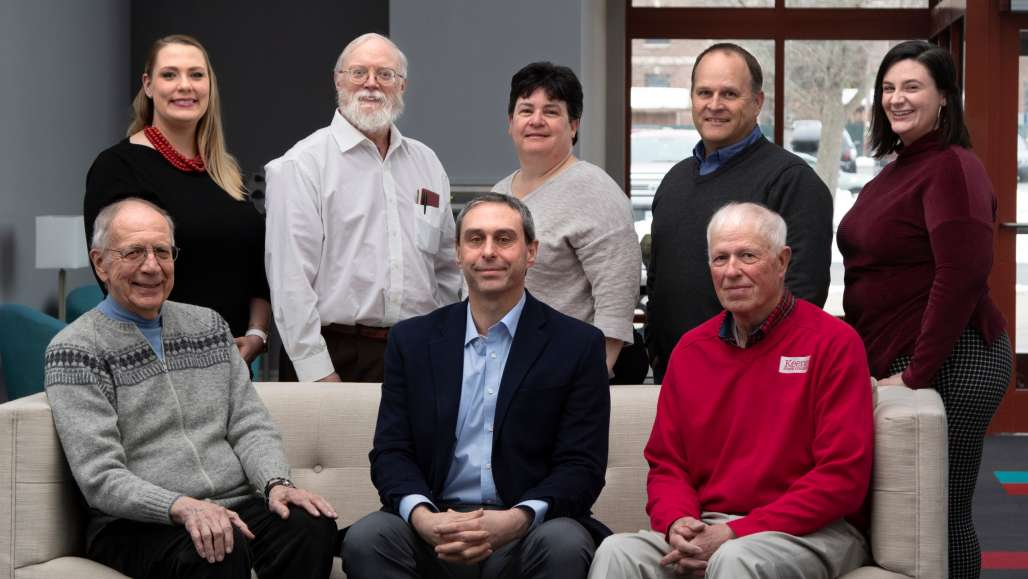 Top Row, from left:  Kristin Brooks '11, Brian Burford '72, Leslie Ringuette '86, Scott Kuhnly '88. Kathleen Daugherty '17. Bottom Row:  Ray Jobin '63 M'70, Josh Houle '96, David Westover '72  Not Pictured:  Trina Baumgartner '13, Lang Plumer '60, Emily Reed '14, Rob Wollner '96, Erin Zoellick '13