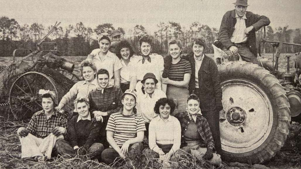 Farm workers were scarce during World War II, so these Keene Teachers College students helped pick potatoes.