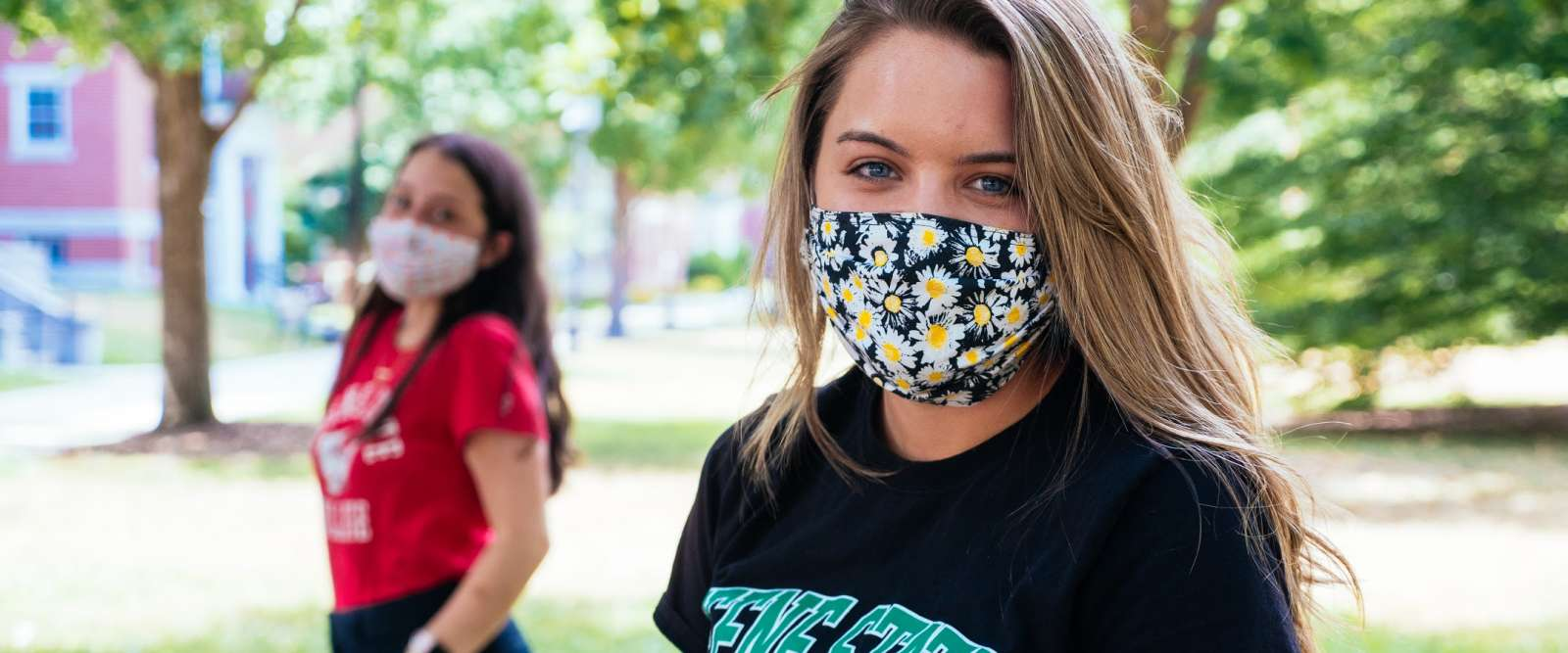 Students with Masks on Fiske Quad