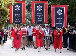 The 2012 New Student Clap-in along Appian Way.
